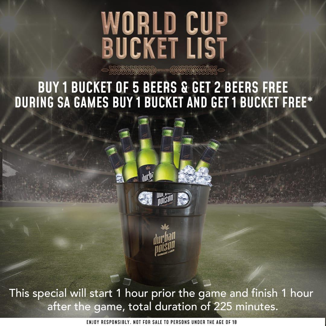 Rugby World Cup Starts Today! Celebrate with Pashas and Durban Poison Cannabis Beer 😃buy 1 bucket of 5 beers and get 2 beers free!